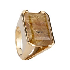 18 K Gold Natural Yellow Quartz Chevalier Ring