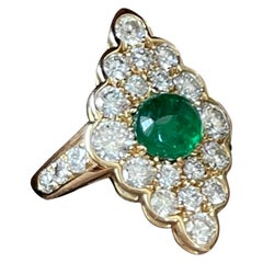 18 K Gold Vintage Victorian Style Marquise Shaped Diamond Emerald Cluster Ring