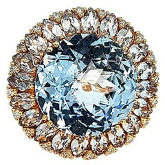 18 Kt Pink Gold Ring with 23.70 Carat Topaz & 0.20 Carat Diamonds Cocktail Ring