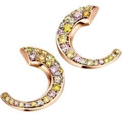 18 Karat Rose Gold 0.82 Carat Fancy Diamond Pave Flat Hoop Earrings