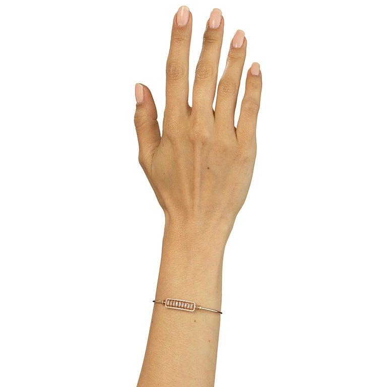 Modern 18 Karat Rose Gold Diamond Bangle