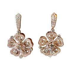 18 K Rose Gold Diamond Flower Dangle Earrings