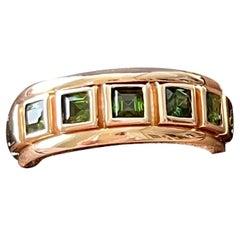 18 K Rose Gold Eternity Ring Band Square Cut Green Tourmaline