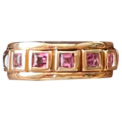 18 K Rose Gold Eternity Ring Band Square Cut Pink Tourmaline