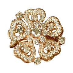 18 K Rose Gold Flower Ring with Diamonds