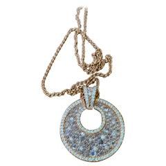 18 K Rose Gold Rose Cut Diamonds Pendant with Chain
