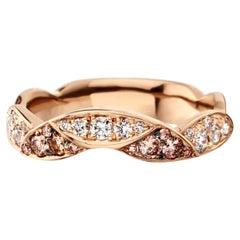 18 Karat Rose Gold White and Fancy Brownish Pink Diamond Eternity Stacking Ring