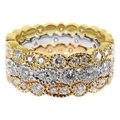 18 K Rose White Yellow Gold 1.62 Carat Diamond Handmade Milgrain Eternity Ring