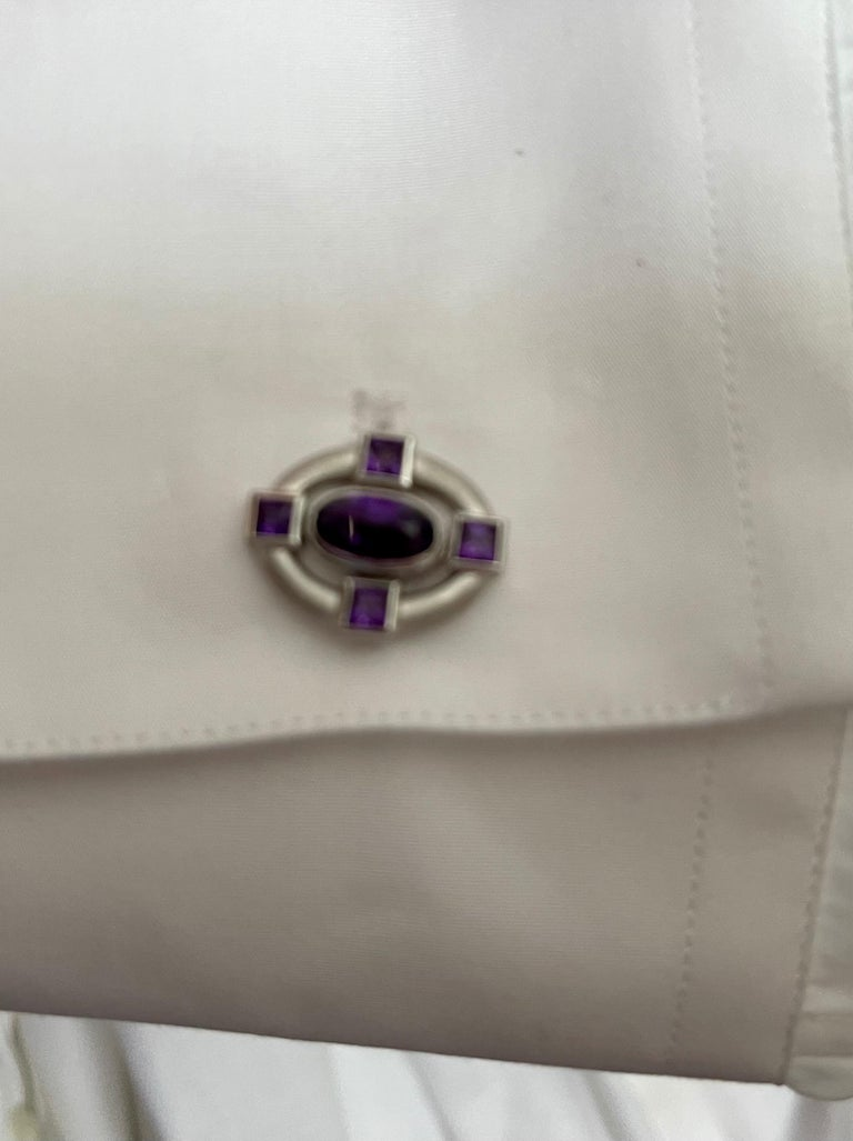 18 K White Gold Amethyst and Diamond Cufflinks For Sale 3