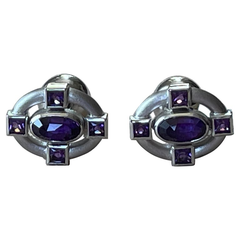 18 K White Gold Amethyst and Diamond Cufflinks For Sale