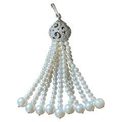 18 K White Gold Art Deco Style Pearl Diamond Tassel Pendant