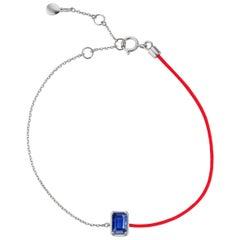 18 Karat White Gold Blue Sapphire Link Chain Bracelet