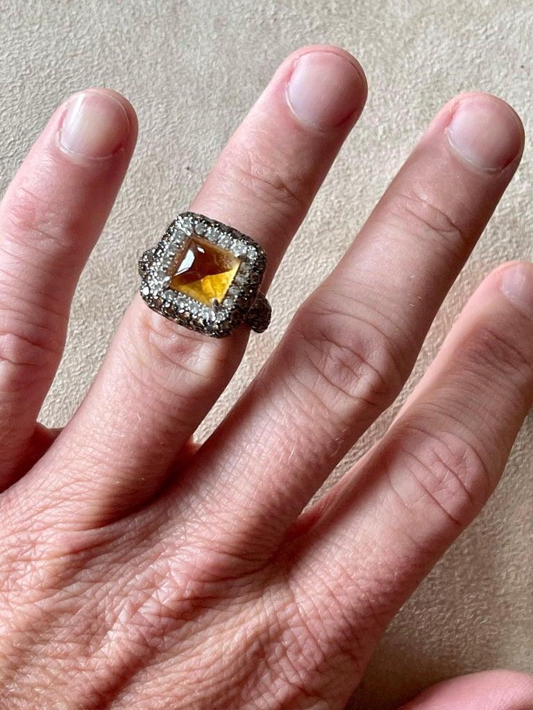 Men's 18 K White Gold Citrine Champagne White Diamond Cocktail Ring For Sale