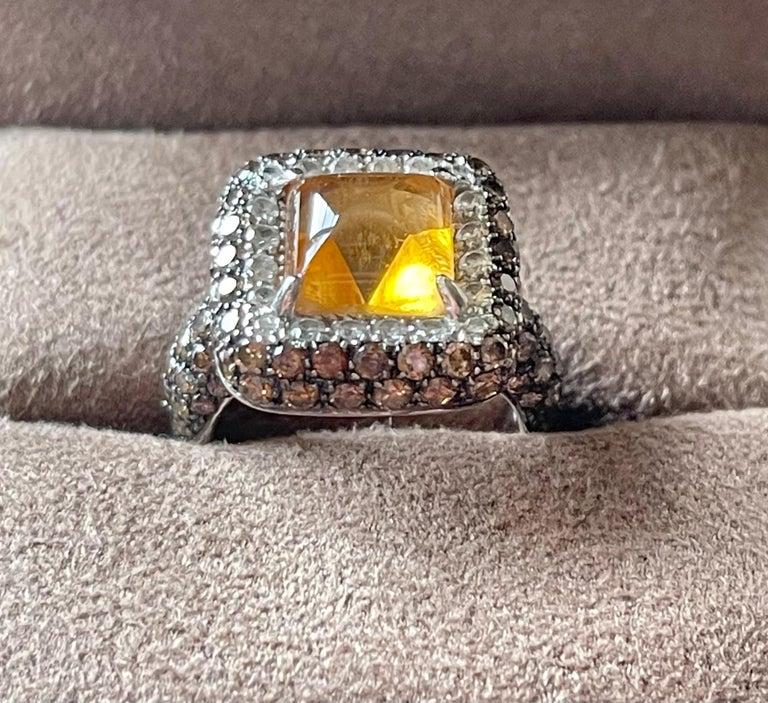 18 K White Gold Citrine Champagne White Diamond Cocktail Ring For Sale 1