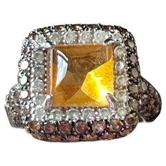 18 K White Gold Citrine Champagne White Diamond Cocktail Ring