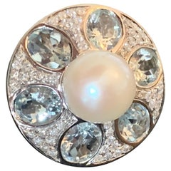 18 K white Gold Cocktail Ring Pearl Aquamarine Diamonds