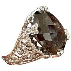 18 K White Gold Cocktail Ring Smoky Quartz Diamonds