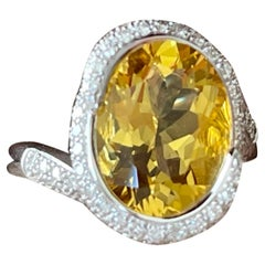 18 K White Gold Coktail Ring Diamonds Yellow Beryl Gubelin Lucerne