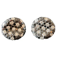 18 K White Gold Earclips Black White Diamonds