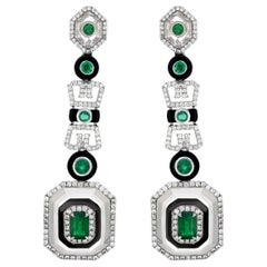 18 Karat White Gold Emerald, Crystal and Pave Diamond Drop Earring
