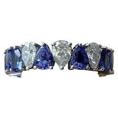 18 K White Gold Eternity Ring Pear Shape Tanzanite Diamonds