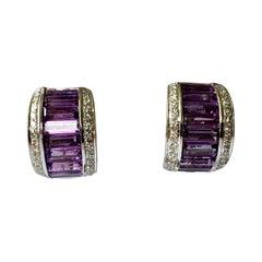 18 K White Gold Half Hoop Amethyst and Diamonds Earrings