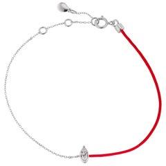 18 Karat White Gold Marquise Diamond Link Chain Bracelet
