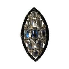 18 K White Gold Moonstone Black White Diamond Cocktail Ring