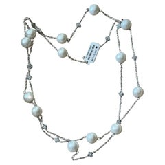 18 K White Gold Sautoir Necklace Pearls Diamonds