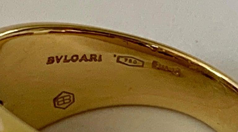 Contemporary 18 Karat Yellow Bulgari Diamond Gold Band Ring For Sale