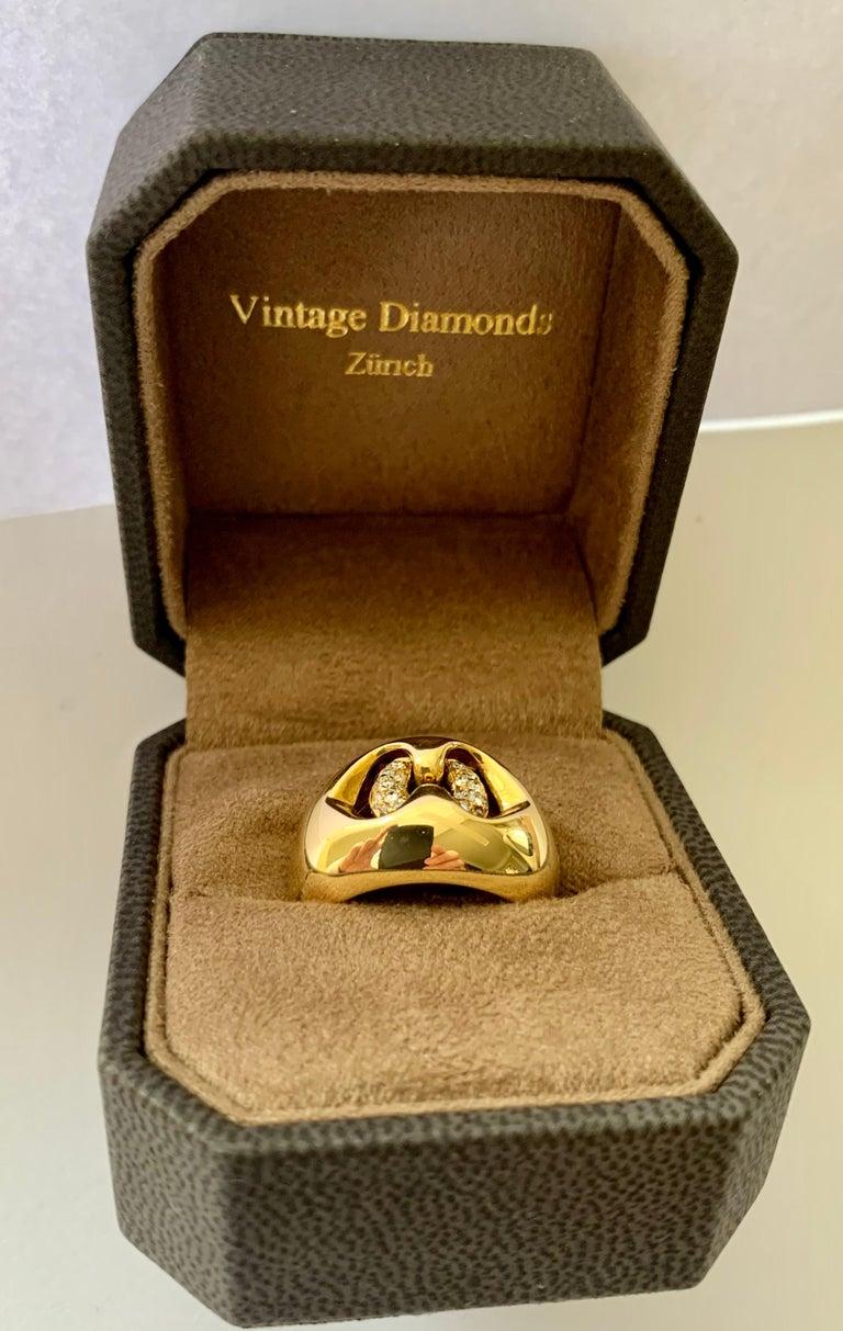 18 Karat Yellow Bulgari Diamond Gold Band Ring In Good Condition For Sale In Zurich, Zollstrasse