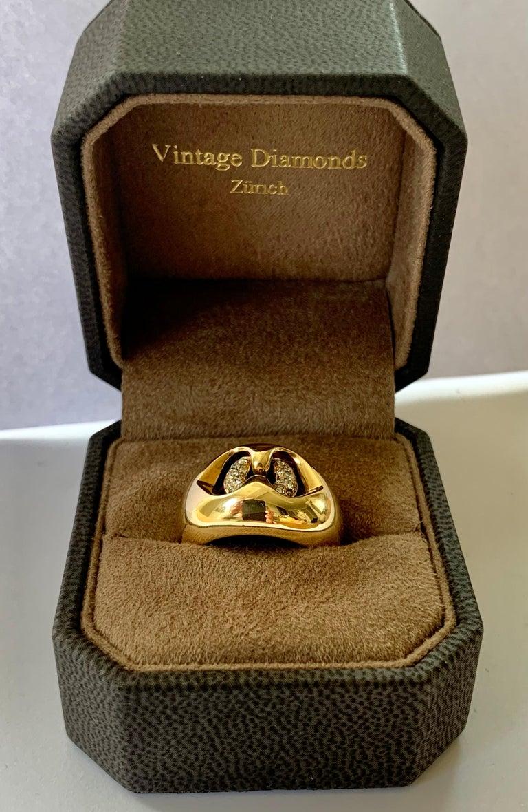 Women's or Men's 18 Karat Yellow Bulgari Diamond Gold Band Ring For Sale