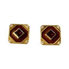 18 K Yellow Gold Cufflinks Enamel Garnet Diamonds Smoky Quartz