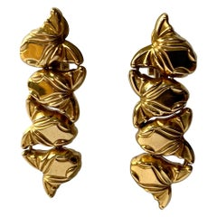 18 K Yellow Gold Earclips by Marina B, ca. 1980 with Fish Motives