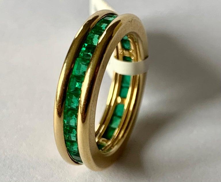 Contemporary 18 Karat Yellow Gold Emerald Eternity Ring