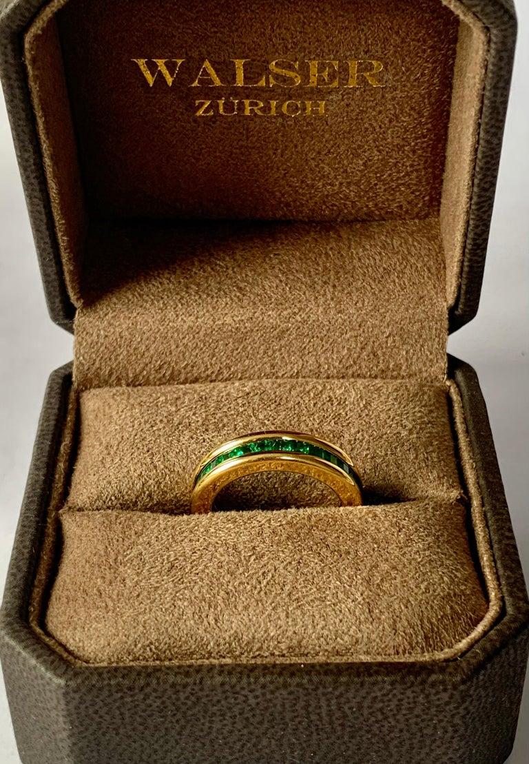 Emerald Cut 18 Karat Yellow Gold Emerald Eternity Ring