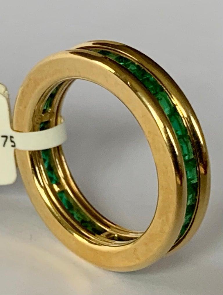 Women's or Men's 18 Karat Yellow Gold Emerald Eternity Ring