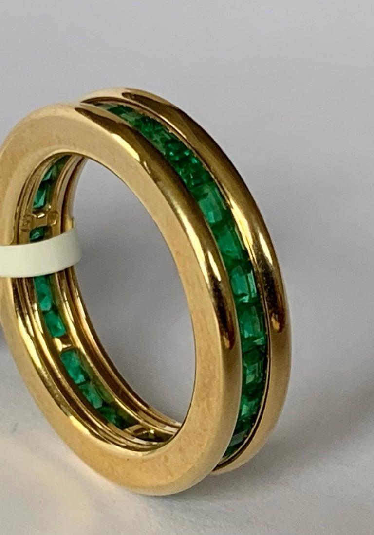18 Karat Yellow Gold Emerald Eternity Ring 1