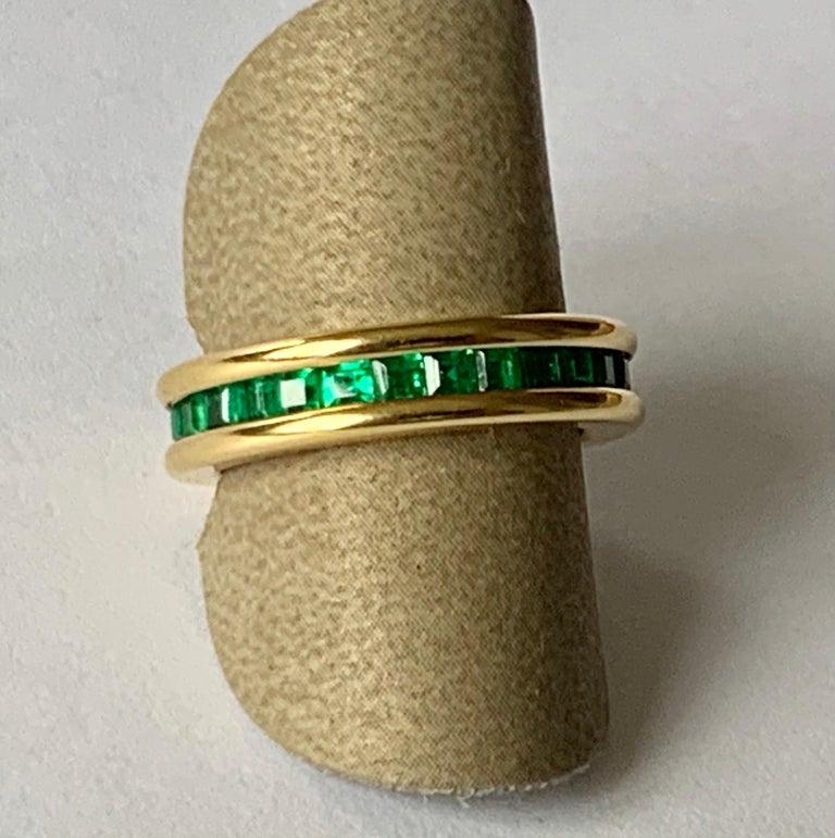 18 Karat Yellow Gold Emerald Eternity Ring 3