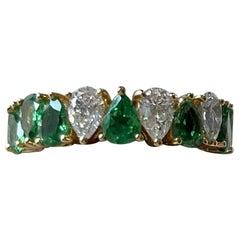 18 K Yellow Gold Eternity Ring Pear Shape Tsavorites Diamonds