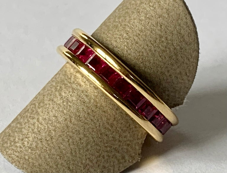 18 Karat Yellow Gold Eternity Ring Ruby For Sale 4