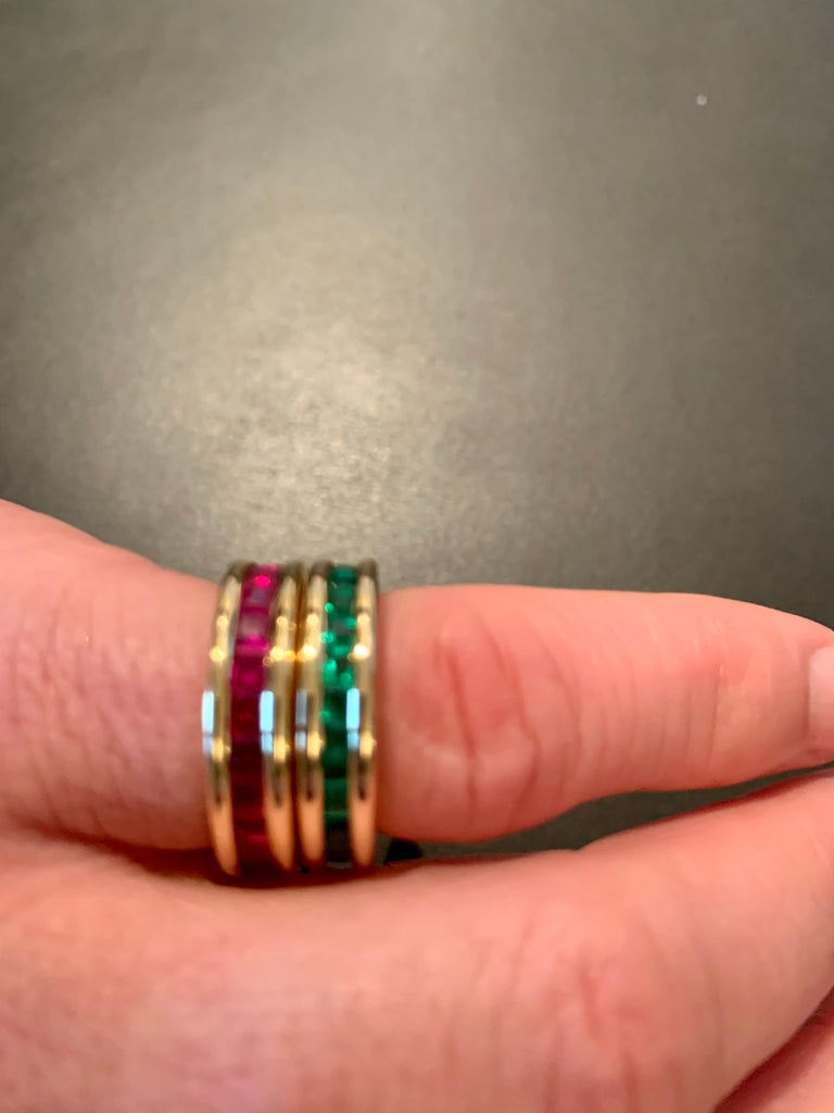 18 Karat Yellow Gold Eternity Ring Ruby For Sale 7