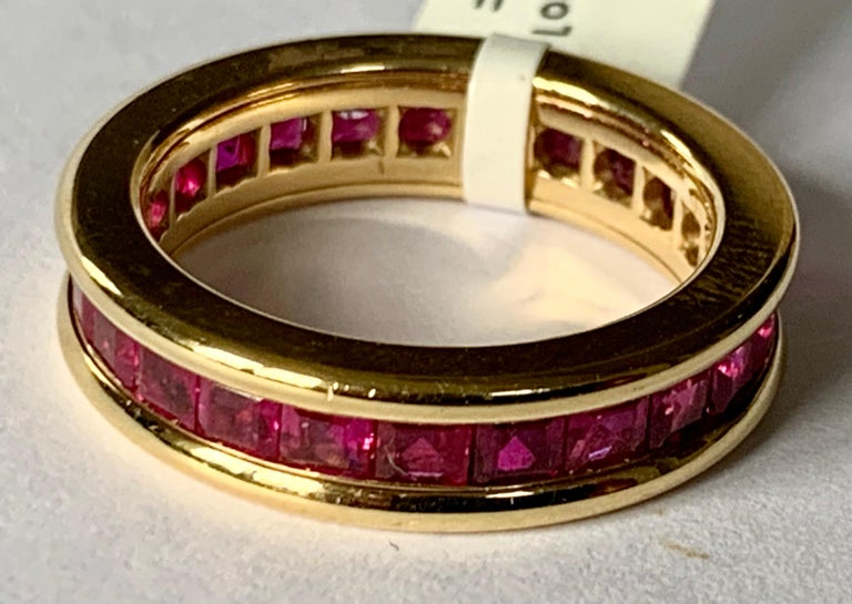 Contemporary 18 Karat Yellow Gold Eternity Ring Ruby For Sale
