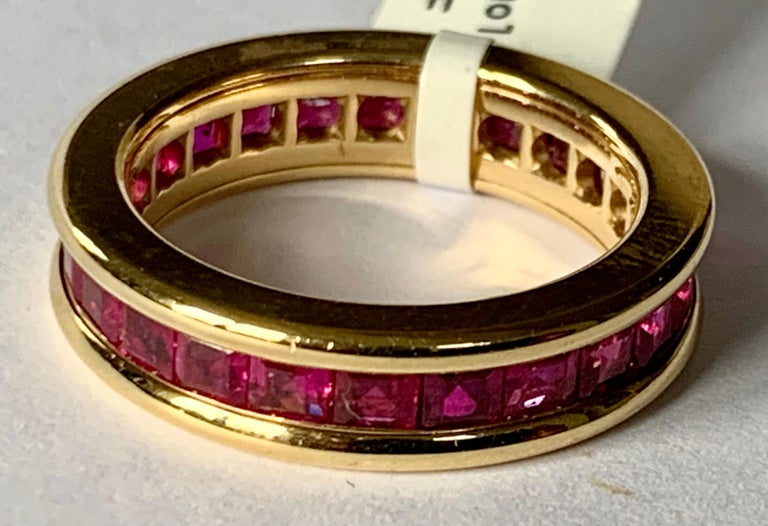 Baguette Cut 18 Karat Yellow Gold Eternity Ring Ruby For Sale