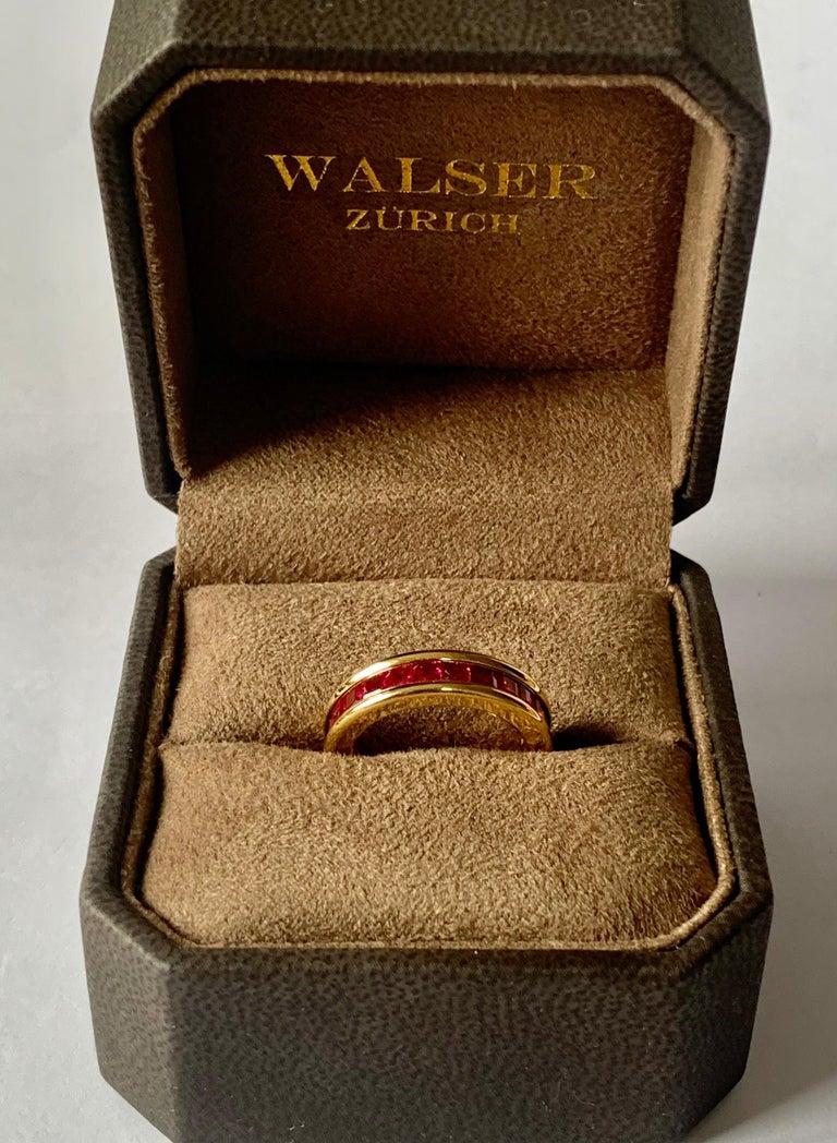 18 Karat Yellow Gold Eternity Ring Ruby In Excellent Condition For Sale In Zurich, Zollstrasse