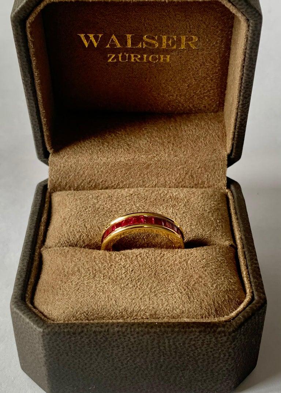 Women's or Men's 18 Karat Yellow Gold Eternity Ring Ruby For Sale