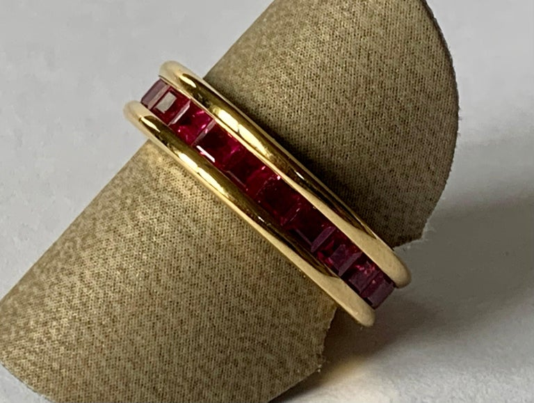 18 Karat Yellow Gold Eternity Ring Ruby For Sale 3