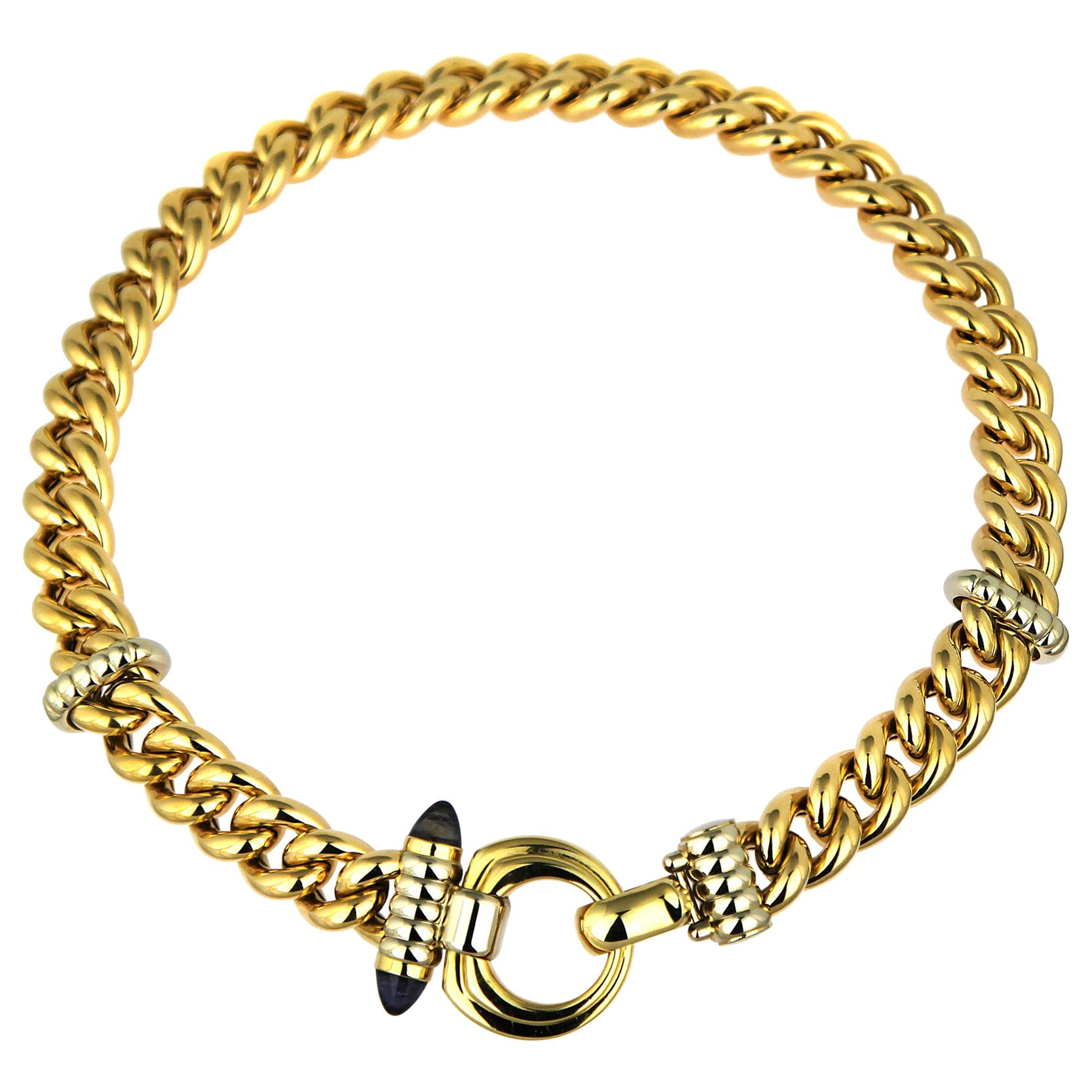 18 Karat Yellow Gold Heavy Curb Chain/Necklace with Bullet Design Amethyst Clasp