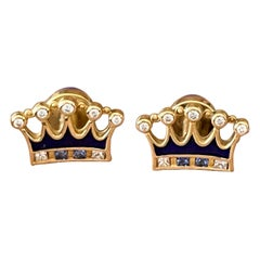 18 K Yellow Gold Lapis Sapphire Diamonds Cufflinks Crown Motif