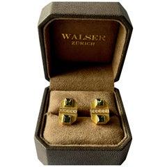 18 K Yellow Gold Tourmaline and Diamond Cufflinks